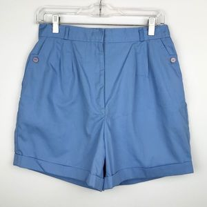 Vintage Blue Poly Cotton Pleated Cuffed Shorts